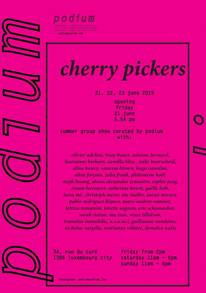 "Flyer for summer group show ""cherry pickers"", black font on pink flyer"